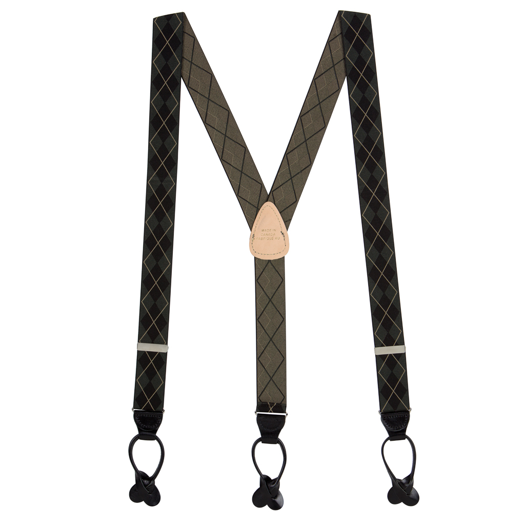 Olive Green Argyle Suspenders - Button