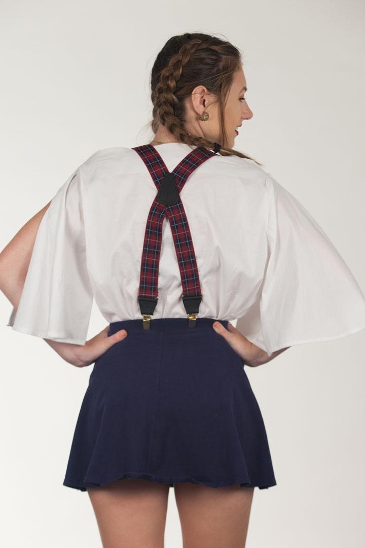 Burgundy Plaid Suspenders - 1.5 Inch Wide Clip