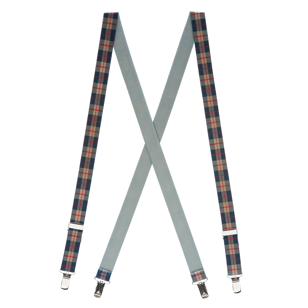 Beige Plaid Suspenders - 1 Inch Wide Clip