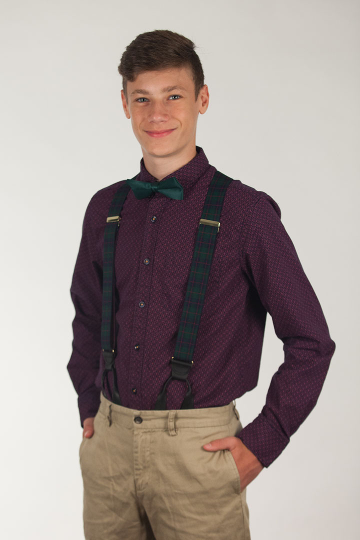 Green Plaid Suspenders - 1.5 Inch Wide Button