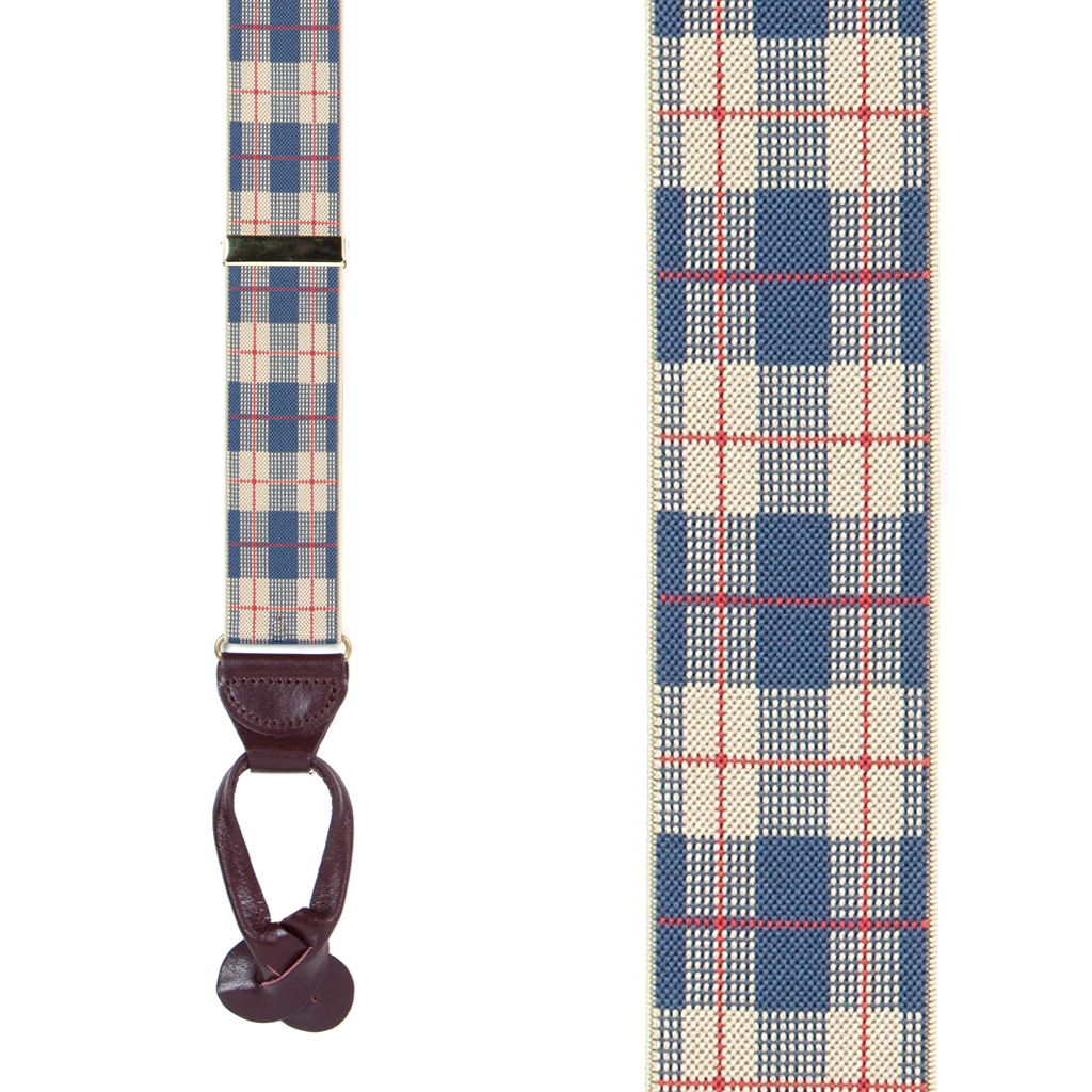 Beige Plaid Suspenders - 1.5 Inch Wide Button