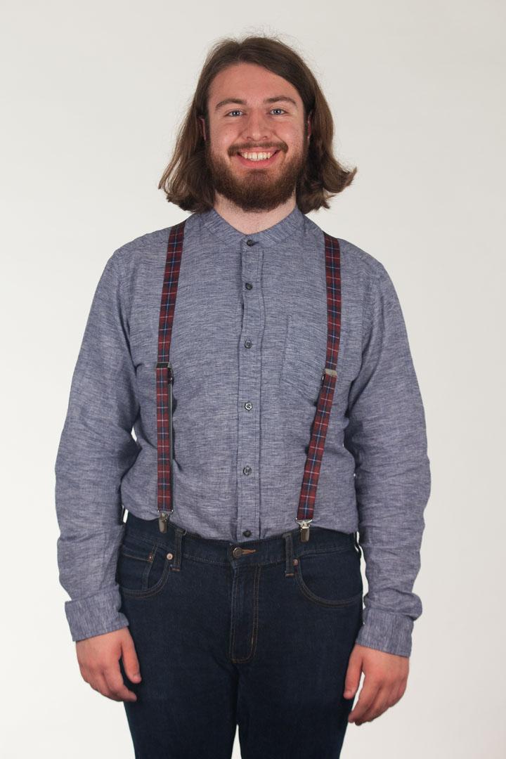 Burgundy Plaid Suspenders - 1 Inch Wide Clip