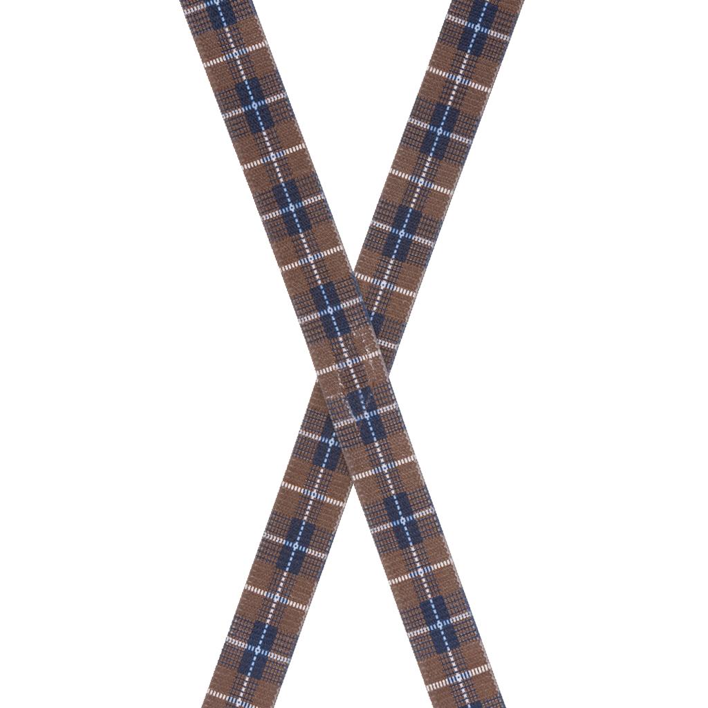 Brown Plaid Suspenders - 1 Inch Wide Clip