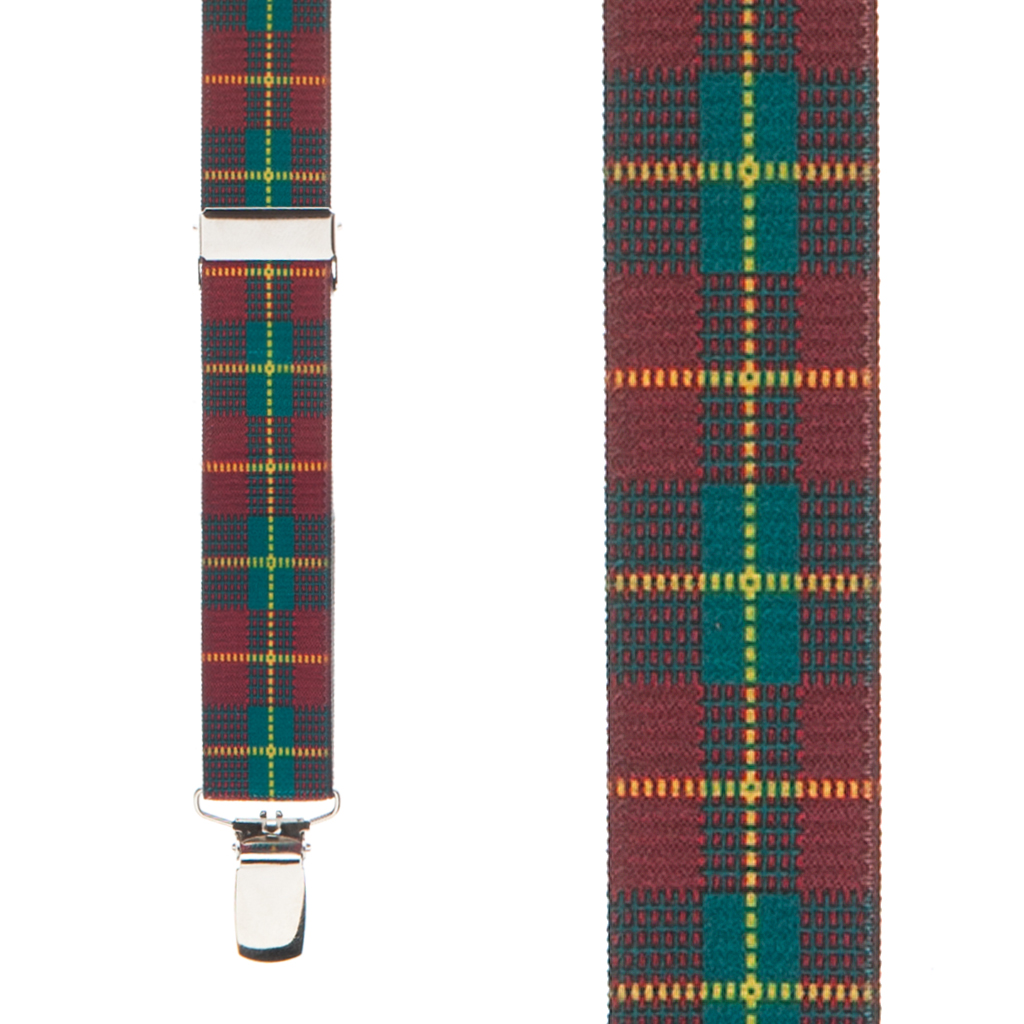 Red Plaid Suspenders - 1 Inch Wide Clip