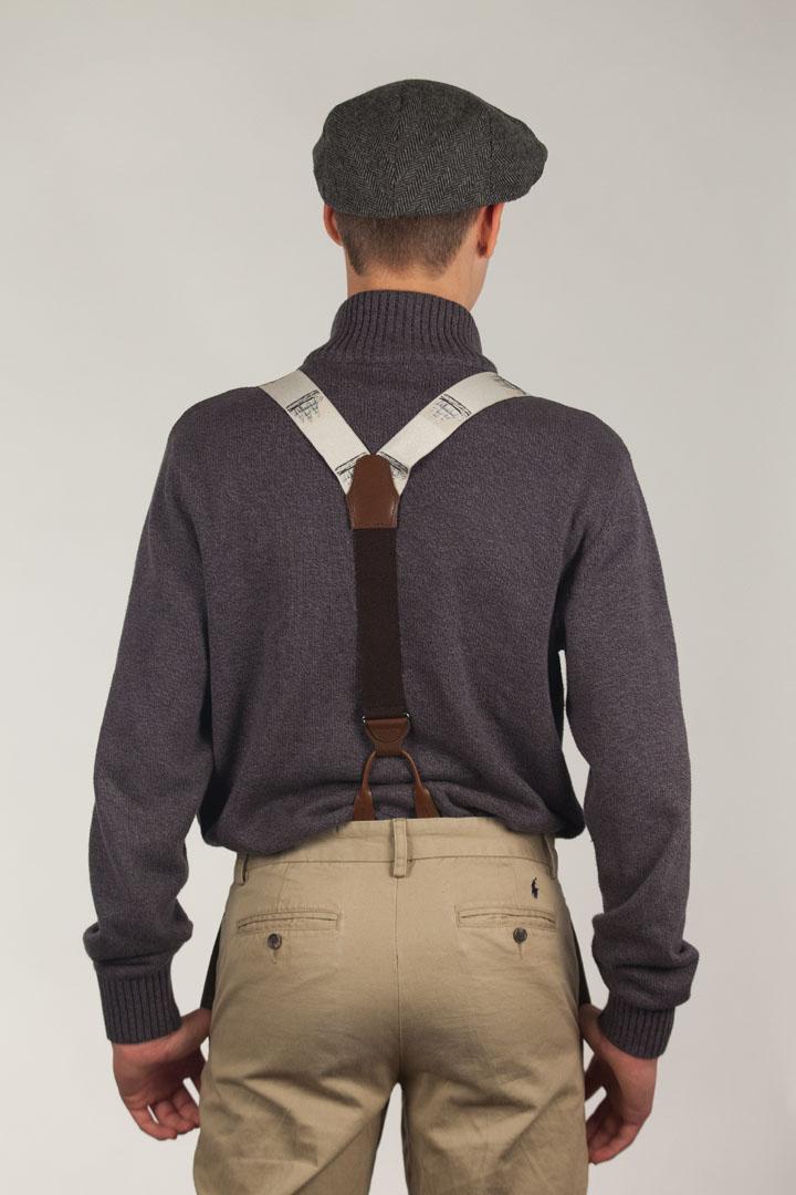 Vintage Ribbon Conversational Suspenders - BUTTON