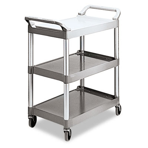 Rubbermaid Economy Plastic Cart, Three-Shelf, 18-5/8w x 33-5/8d x 37-3/4h, Platinum (RCP 3424-88 PLA)