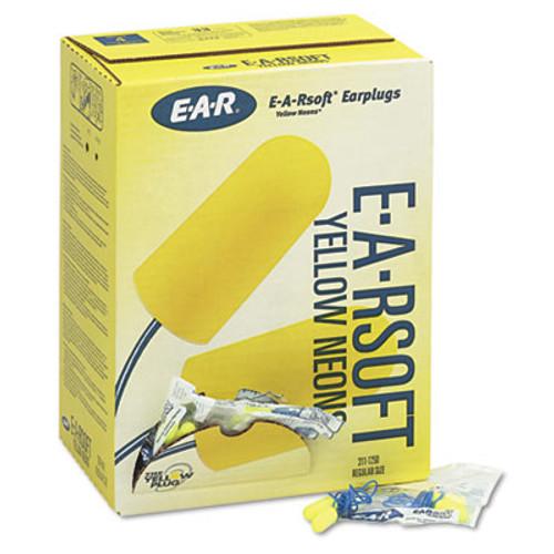 3M E·A·Rsoft Yellow Neon Soft Foam Earplugs, Corded, Regular Size, 200 Pairs (MMM3111250)