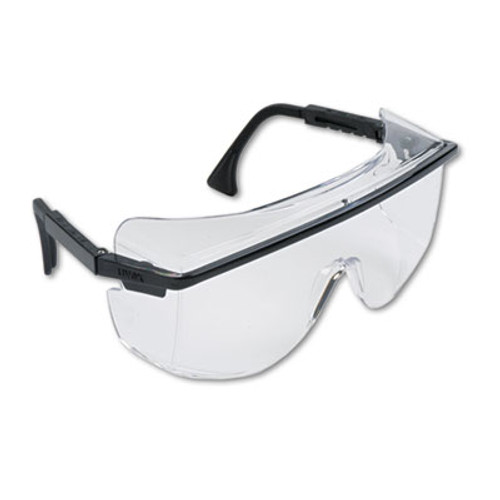 Honeywell Uvex Astro OTG 3001 Wraparound Safety Glasses, Black Plastic Frame, Clear Lens (UVX S2500)