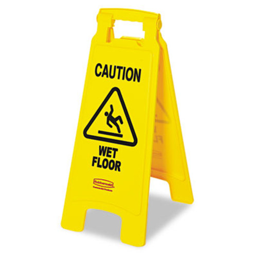 Rubbermaid Caution Wet Floor Floor Sign, Plastic, 11 x 12 x 25, Bright Yellow (RCP 6112-77 YEL)