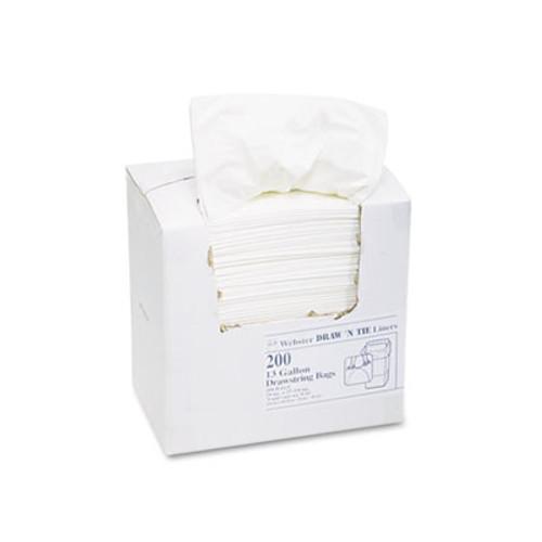 Draw 'n Tie Heavy-Duty Trash Bags, 13gal, .9mil, 24.5 x 27 3/8, White, 200/Box (WEB 1DK200)
