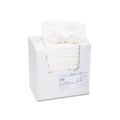 Draw 'n Tie Heavy-Duty Trash Bags, 13gal, .9mil, 24.5 x 27 3/8, White, 200/Box (WEB 1DK200)