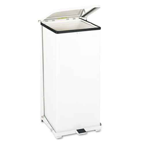 Rubbermaid Defenders Biohazard Step Can, Square, Steel, 24gal, White (RCP ST24EPLWH)