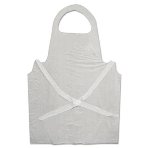 Boardwalk Disposable Apron, White, Poly, 28 x 45, 1.25 mil, One Size, 100/Pk (BWK 390)