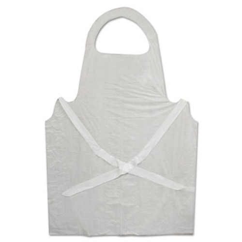 Boardwalk Disposable Apron, White, Poly, 28 x 45, 1.25 mil, One Size, 100/Pk (BWK 390)