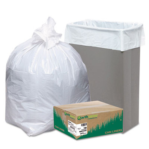 Earthsense Commercial Recycled Tall Kitchen Bags, 13-16gal, .8mil, 24 x 33, White, 150 Bags/Box (WEB RNW1K150V)