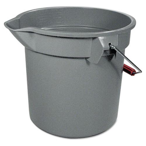 "Rubbermaid 14 Quart Round Utility Bucket, 12"" Diameter x 11 1/4""h, Gray Plastic (RCP 2614 GRA)"