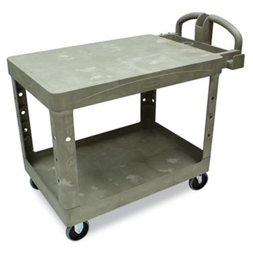 Rubbermaid Flat Shelf Utility Cart, Two-Shelf, 25-1/4w x 44d x 38-1/8h, Beige (RCP 4525 BEI)