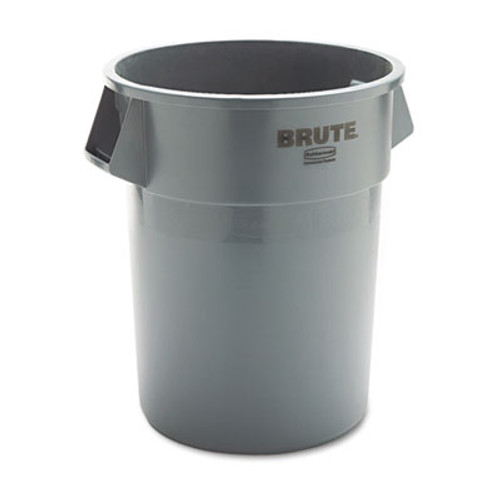 Rubbermaid Round Brute Container, Plastic, 55 gal, Gray (RCP 2655 GRA)