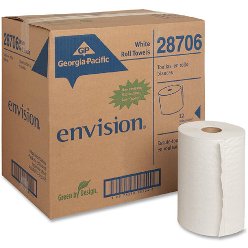 Georgia Pacific Nonperforated Paper Towel Rolls, 7 7/8 x 350ft, White, 12 Rolls/Carton (GPC 287-06)