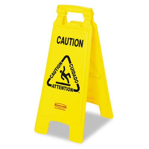 """Rubbermaid Multilingual """"Caution"""" Floor Sign, Plastic, 11 x 12 x 25, Bright Yellow (RCP 6112 YEL)"""