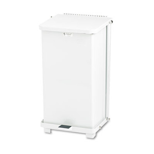 Rubbermaid Defenders Biohazard Step Can, Square, Steel, 12gal, White (RCP ST12EPLWH)