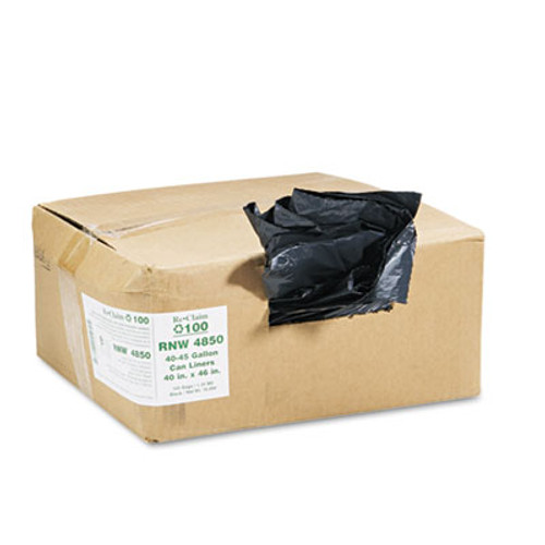 Earthsense Recycled Can Liners, 40-45gal, 1.25mil, 40 x 46, Black, 100/Carton (WEB RNW4850)