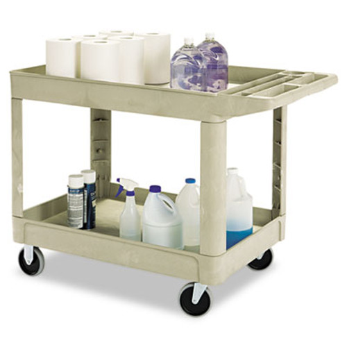 Rubbermaid Heavy-Duty Utility Cart, Two-Shelf, 25 9/10w x 45 1/5d x 32 1/5h, Beige (RCP 4520-88 BEI)