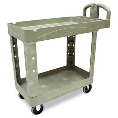 Rubbermaid Heavy-Duty Utility Cart, Two-Shelf, 17-1/8w x 38-1/2d x 38-7/8h, Beige (RCP 4500-88 BEI)