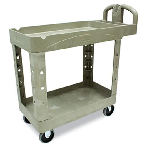 Rubbermaid Heavy-Duty Utility Cart, Two-Shelf, 17-1/8w x 38-1/2d x 38-7/8h, Beige (RCP 4500-88 BEI)