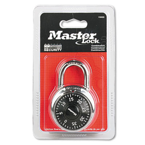 "Master Lock Combination Lock, Stainless Steel, 1 7/8"" Wide, Black Dial (MAS 1500D)"