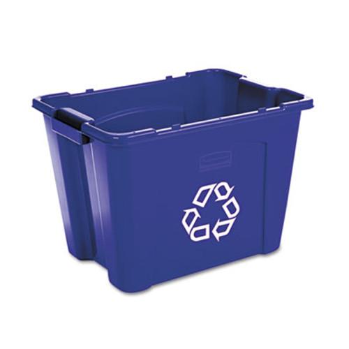 Rubbermaid Stacking Recycle Bin, Rectangular, Polyethylene, 14gal, Blue (RCP 5714-73 BLU)