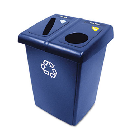 Rubbermaid Glutton Recycling Station, Two-Stream, 46 gal, Blue (RCP 1792339)