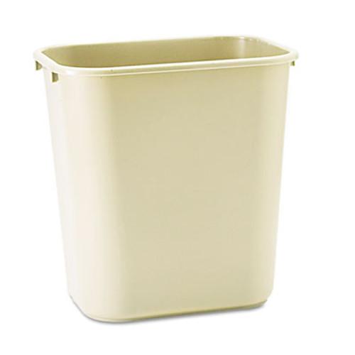 Rubbermaid Deskside Plastic Wastebasket, Rectangular, 7 gal, Beige (RCP 2956 BEI)