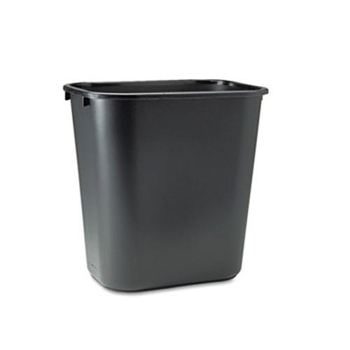 Rubbermaid Deskside Plastic Wastebasket, Rectangular, 7 gal, Black (RCP 2956 BLA)