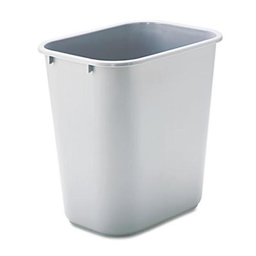 Rubbermaid Deskside Plastic Wastebasket, Rectangular, 7 gal, Gray (RCP 2956 GRA)
