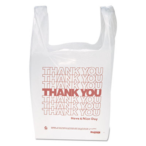 "Inteplast Group ""Thank You"" Handled T-Shirt Bags, 11 1/2 x 21, Polyethylene, White, 900/Carton (IBS THW1VAL)"
