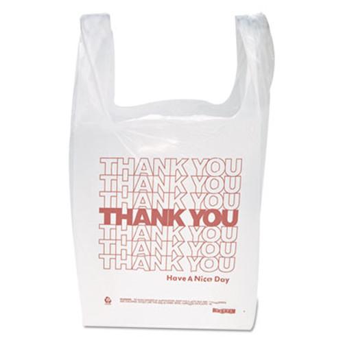"Inteplast Group ""Thank You"" Handled T-Shirt Bags, 11 1/2 x 21, Polyethylene, White, 900/Carton (IBS THW1VAL)"