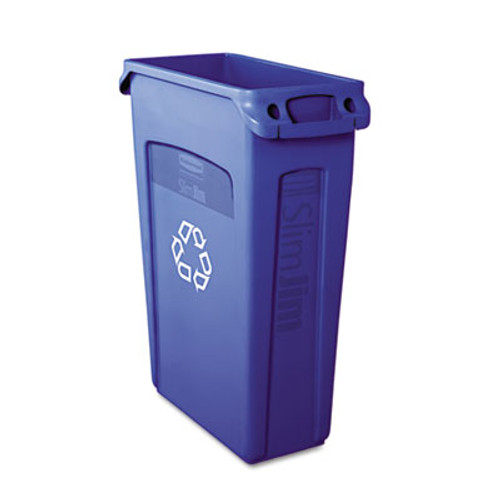 Rubbermaid Slim Jim Recycling Container w/Venting Channels, Plastic, 23 gal, Blue (RCP 3540-07 BLU)