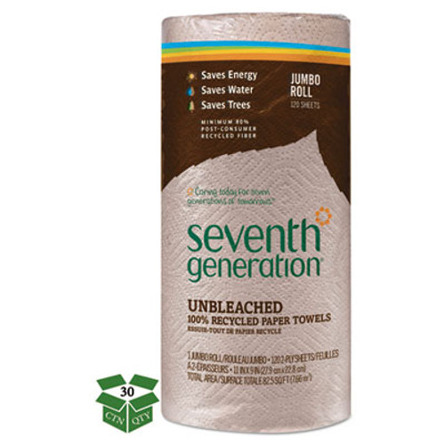 Seventh Generation Natural Unbleached 100% Recycled Paper Towel Rolls,11 x 9,120 Sheets/RL,30 RL/CT (SEV 13720)