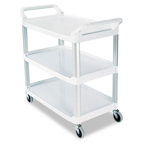 Rubbermaid Commercial Open Sided Utility Cart, Three-Shelf, 40-5/8w x 20d x 37-13/16h, Off-White (RCP 4091 CRE)