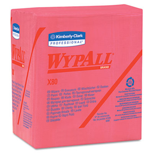 WypAll* X80 Cloths, 1/4 Fold, HYDROKNIT, 12 1/2 x 13, Red, 50/Box, 4 Boxes/Carton (KCC 41029)
