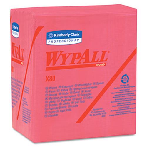 WypAll* X80 Cloths, 1/4 Fold, HYDROKNIT, 12 1/2 x 13, Red, 50/Box, 4 Boxes/Carton (KCC 41029)