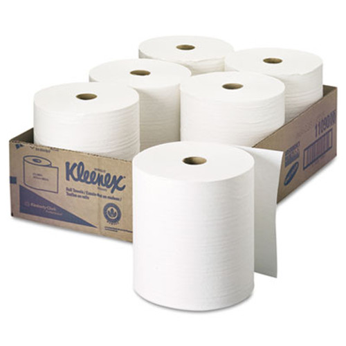 "Kleenex Hard Roll Towels, 1.5"" Core, 8"" x 600ft, White, 6 Rolls/Carton (KCC 11090)"
