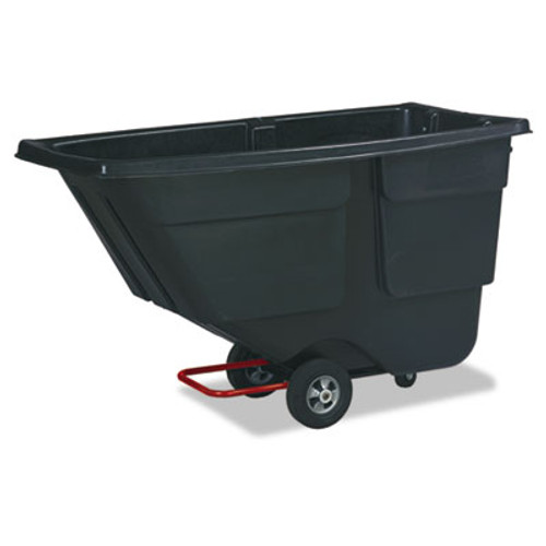 Rubbermaid Rotomolded Tilt Truck, Rectangular, Plastic, 600lb Cap, Black (RCP 9T18 BLA)