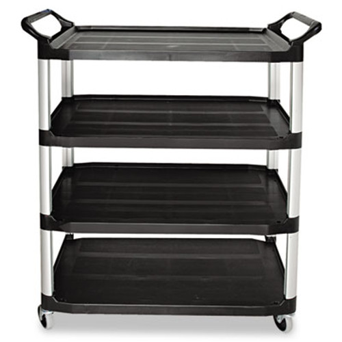 Rubbermaid Open Sided Utility Cart, Four-Shelf, 40-5/8w x 20d x 51h, Black (RCP 4096 BLA)