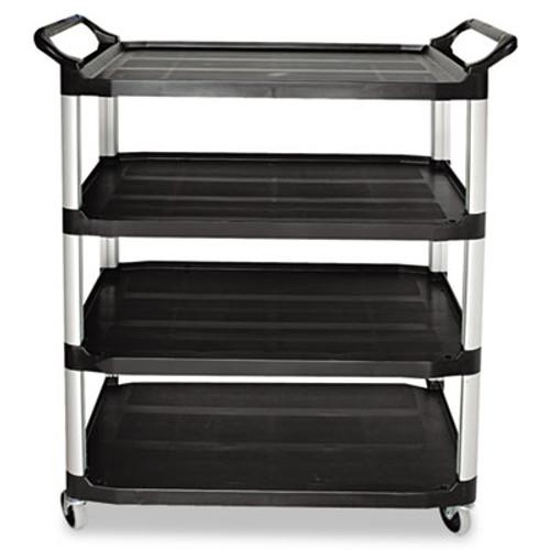 Rubbermaid Open Sided Utility Cart, Four-Shelf, 40-5/8w x 20d x 51h, Black (RCP 4096 BLA)