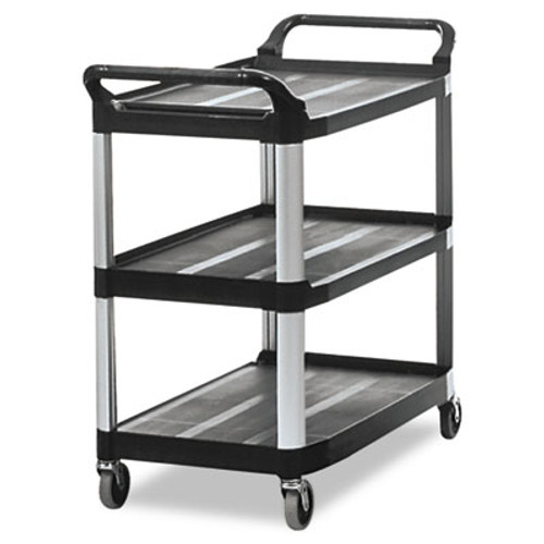 Rubbermaid Commercial Open Sided Utility Cart, Three-Shelf, 40-5/8w x 20d x 37-13/16h, Black (RCP 4091 BLA)
