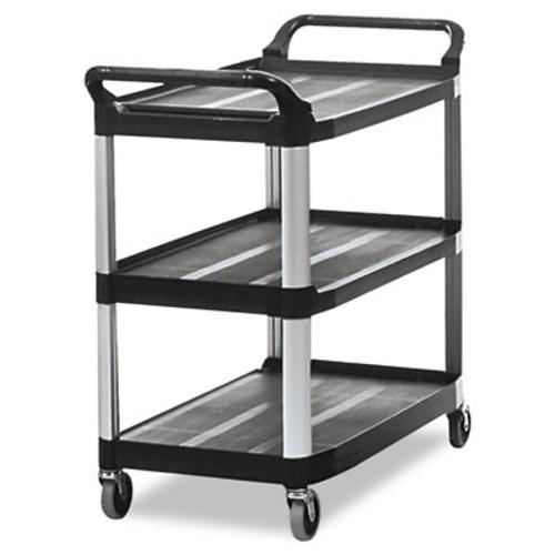 Rubbermaid Open Sided Utility Cart, Three-Shelf, 40-5/8w x 20d x 37-13/16h, Black (RCP 4091 BLA)