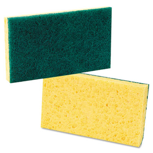 Boardwalk Medium Duty Scrubbing Sponge, 3 3/5 x 6 1/10, Yellow/Green, 20/Carton (PAD 174)