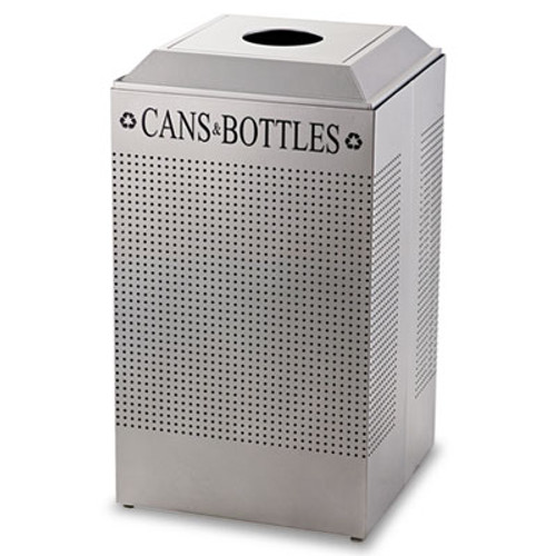 Rubbermaid Silhouette Can/Bottle Recycling Receptacle, Square, Steel, 29gal, Silver (RCP DCR24CSM)